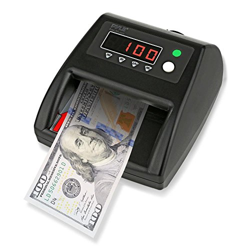 (Pyle 2-in-1 Improved Bill Counter, Counterfeit Bill Detector, UV Scanning, Currency Checker, U.S. & Canadian Dollar, Euros, Pound, Less Errors Than Older Models, For Bankers or Home Use (PRMDC40))