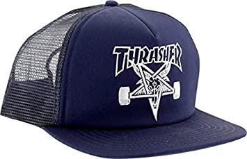 dfb2d415e71 Amazon.com  Thrasher Embroidered Skategoat Mesh Cap  Navy White ...
