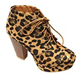 Bella Marie Goldie-21 Women's almond toe platform lace up chunky heel ankle high suede booties Leopard 7.5