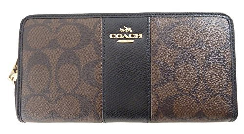 Coach Signature PVC and Leather Accordion Zip Around Wallet in Brown & Black by Coach