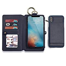 Protective Case for iPhone 7/8 with Hanging Hook, 2-in-1 Luxury Leather Layered Wallet Cover with Zipper, 12 Credit Card Slots Magnetic Detachable – Blue