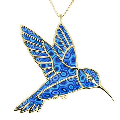 (Gold Plated Sterling Silver Hummingbird Necklace Handmade Blue Polymer Clay Bird, 16.5