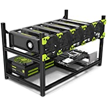 6 GPU Mining Case Rig Aluminum Stackable Preassembled Open Air Frame For Ethereum(ETH)/ETC/ZCash/Monero/BTC Easy Mounting Edition(Just 10 minutes)