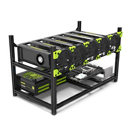 6GPU Mining rig Aluminum Stackable Mining Case Rig Open Air Frame For Ethereum(ETH)/ETC/ ZCash/Monero/BTC Excellent air convection design Aluminum Stackable