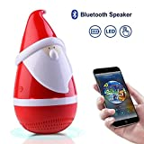 Wireless Bluetooth Speakers, Marceloant Wireless Tumbler Stereo Audio Speaker Santa Claus Gift with LED Light, Rich Bass, Portable USB Charge Rechargeable Toy Speaker