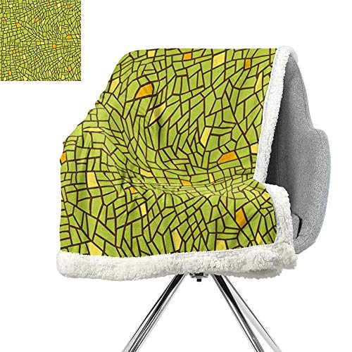 - ScottDecor Green Cozy Flannel Blanket,Conceptual Stained Glass Design Mosaic Pavement Cracked Like Pieces,Apple Green Mustard Brown,Print Digital Printing Blanket W59xL47 Inch