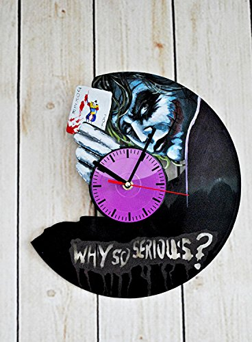 Dark Knight Costumes Details (SUPERHERO HANDPAINTED HANDMADE Vinyl Record Wall Clock - Get Unique Room Wall Decor - Gift Ideas For His and Her - Comics Theme Unique Fan Art Design)