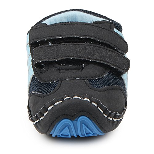 Lidiano Baby Toddler Sewing Nubuck Upper Non Slip Rubber Sole Sneakers Slippers Loafers Crib Shoes (12-16 Months, Deep Blue) - Image 3