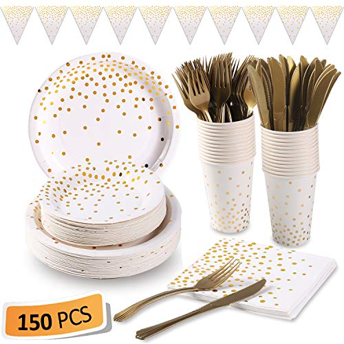 White and Gold Party Supplies 150PCS Golden Dot Disposable Party Dinnerware Includes Paper Plates, Napkins, Knives…
