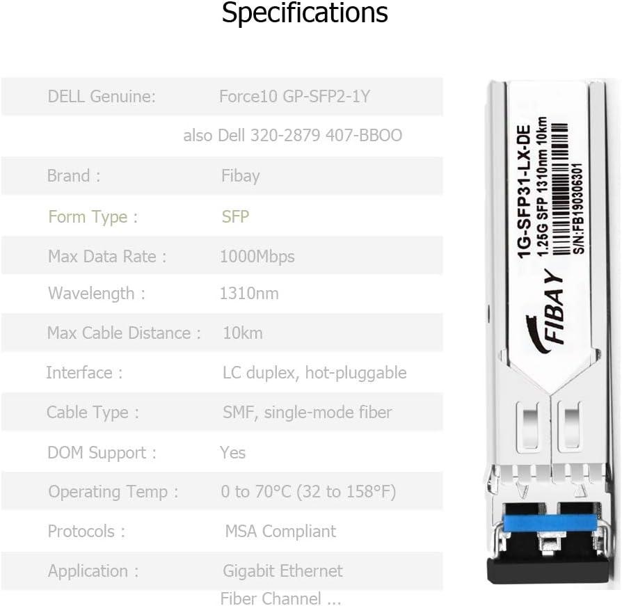 1G SFP SX for HPE Aruba J4858D ProCurve J4858C J4858B J4858A1000BASE-SX Mini-GBIC Fiber Optical Transceiver Module MMF 550m 850nm LC DOM