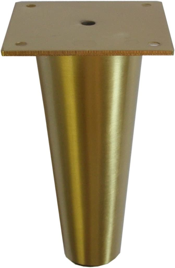 """Metal Furniture Legs Round Tapered Brass or Satin Nickel 6 1/4"""" H Heavy Duty Modern Affordable 4 pc (Brushed Brass)"""