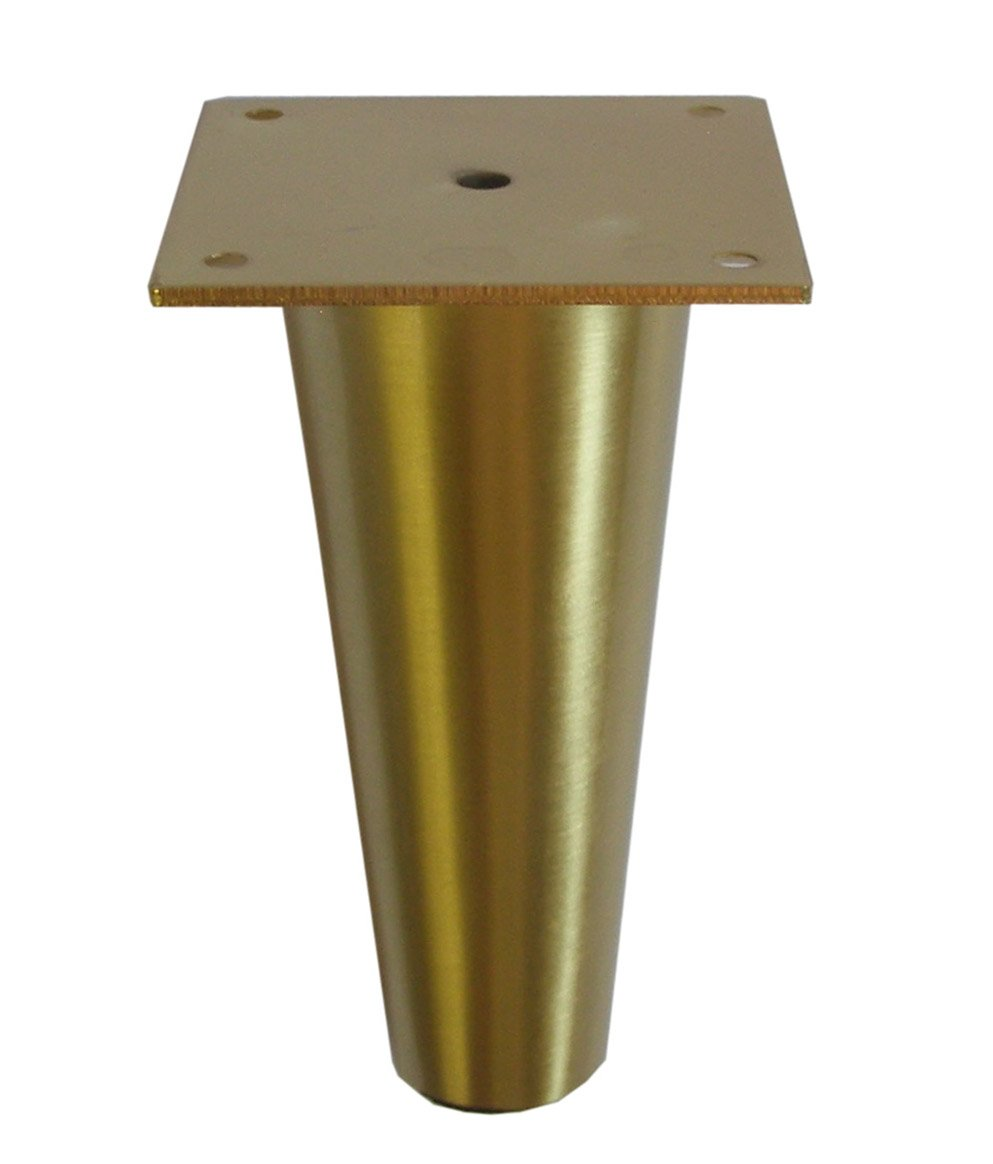Metal furniture legs round tapered brass or satin nickel 6 5 h heavy duty modern affordable 4 pc brushed brass amazon com