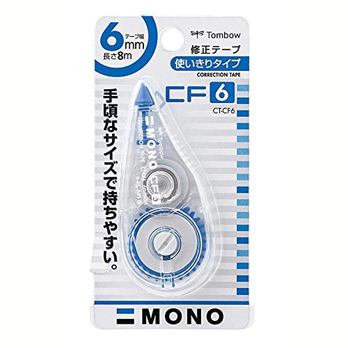 Mono Colored Correction Tape (Tombow Mono Correction Tape, 6mm X 8m, White (CT-CF6))