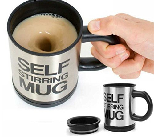 400Ml Mug Automatic Electric Lazy Self Stirring Mug Automatic Coffee Milk Mixing Mug Tea Smart Stainless Steel Mix cup (Black)