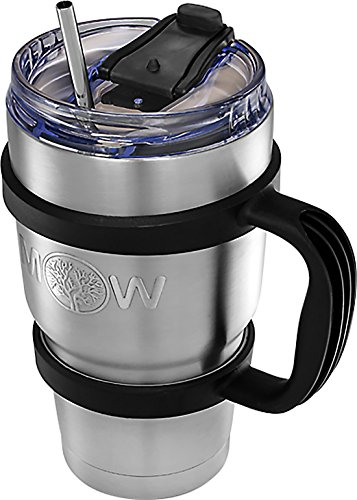 Travel Steel Mugs Coffee (Insulated Stainless Steel Tumbler - 30 oz Cup Set with Handle and Spill Proof Lid Complete Bundle with Stainless Steel Reusable Straw - Large Coffee Travel Mug Works Great for Ice Drink/Hot Beverage)