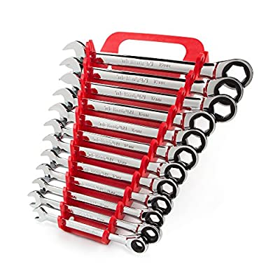 TEKTON WRN53190 Ratcheting Combination Wrench Set with Roll-up Storage Pouch, Metric, 8 mm - 19 mm, 12-Piece