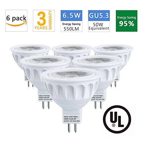 MR16 LED Bulbs, 50W Halogen Bulb Equivalent, AC/DC 12V, 6.5W 550lm,4000K Neutral White, 40° Beam Angle Spotlight, MR16 LED Light Bulbs, GU5.3, UL Listed, Non-Dimmable, 6-Pack by LEDMEI (4000K) - Led Mr16 Spotlight