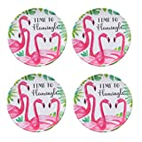 Summertime Indoor/Outdoor Set of 4 Novelty Melamine Dessert Appetizer Plates (Flamingo, Time To Flamingle)