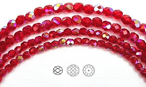 4mm (102 beads) Light Siam AB, Czech Fire Polished Round Faceted Glass Beads, 16 inch ()