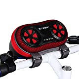 ECEEN Wireless Bluetooth Speaker - Bicycle Speaker Case with Hands-Free Speakerphone Calls and Rechargeable 4,000mAh Power Bank Charge For iPods, Cell Phones, Android Devices and MP3 Players (Red)