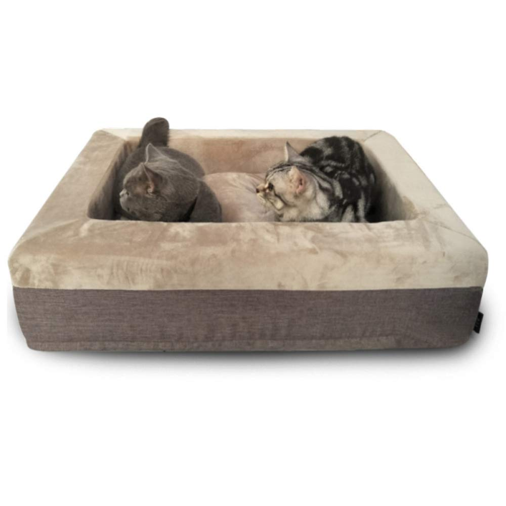 Brown Pet Nest Non-slip Foldable  Soft Four Seasons Dual-use Washable Bed Sleeping Bed Dog Cat Cave Bed House With Removable Cushion Small Medium,Brown