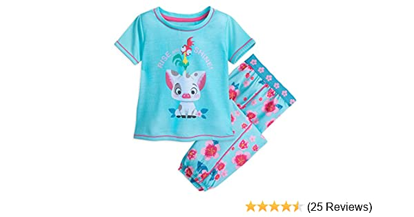 New Disney Store Moana Pua HeiHei Girls Cotton PJ Pal 2-piece Pajama set size 6