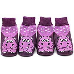 Scheppend 4pcs Dog Socks Puppy Waterproof Non Slip Pet Shoes Boots Cute Cartoon Sport Pawks Paw Protectors,Hippo #5