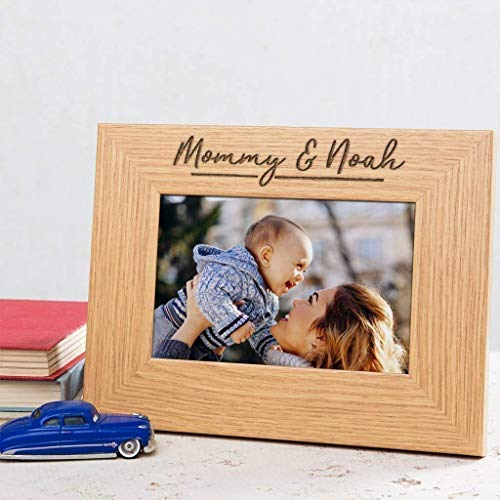 - Personalized Mommy and Me Picture Frame - Unique Mothers Day Gifts For Mom from daughter - Engraged Wood Photo Frame Portrait Landscape 6x4 5x7 8x10