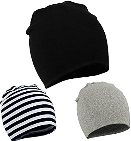 Zando Toddler Infant Baby Cotton Soft Cute Knit Kids Hat Beanies Cap A 3 Pack-Mix Color2 - Doll Furniture High Chair