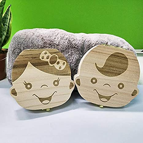 Color : Brown Aourrmmer Englisch//Spanisch Holz Baby-Tooth-Kasten-Organisator Milchz/ähne Lagerung Umbilical Lanugo Speichern Collect Baby-Souvenirs Geschenke