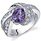 Mystic Divinity 1.25 carats Amethyst Ring in Sterling Silver Rhodium Nickel Finish Sizes 5 to 9