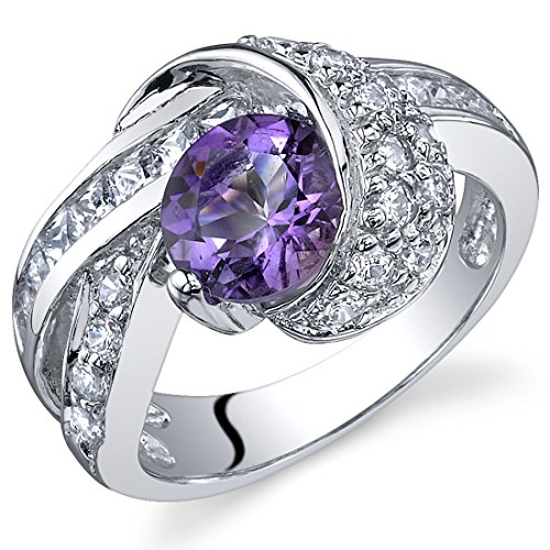 (Mystic Divinity 1.25 carats Amethyst Ring in Sterling Silver Rhodium Nickel Finish Size 7 )