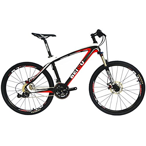 BEIOU Bicycles Hardtail Mountain Bike 26-Inch Shimano 3×9 Speed SRAM Brake Ultralight Complete Carbon MTB Frame Ready Ride CB014A