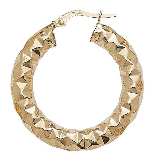 Or 9ct Coupe Diamant Boucles d'oreilles créoles 20mm