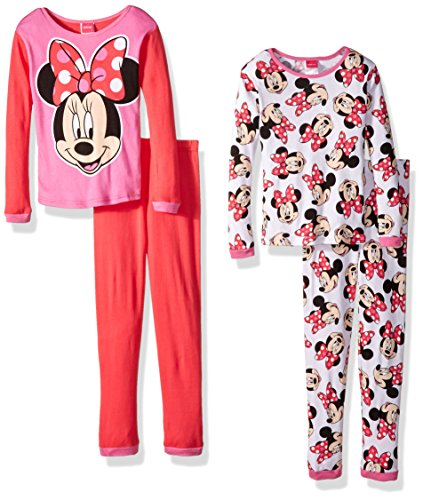 Disney Little Girls' Minnie Mouse 4-Piece Pajama Set, Red/White, 6