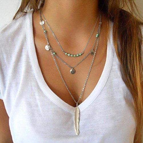 Fheaven Women Multilayer Irregular Gold Pendant Chain Statement Necklace (B)