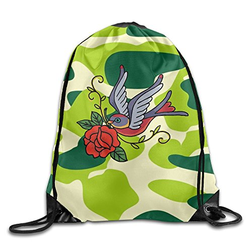2018 Dangling The Birds Of Roses Drawstring Bags Camping Backpack For Teens College
