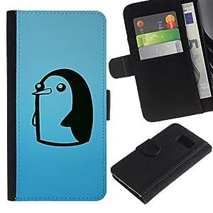 KLONGSHOP / Tirón de la caja Cartera de cuero con ranuras para tarjetas - Cute Funny Minimalist Penguin - Samsung Galaxy S6 SM-G920