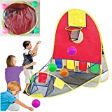 Portable Ball Shooting Tent, Kid Foldable Pop Up Playing Tent Goal Basketball Hoop Shooting Tent with 4 Balls, Indoor and Outdoor Large Space Sports Arcade Playhouse for 1-6 Years Old boy/Girls
