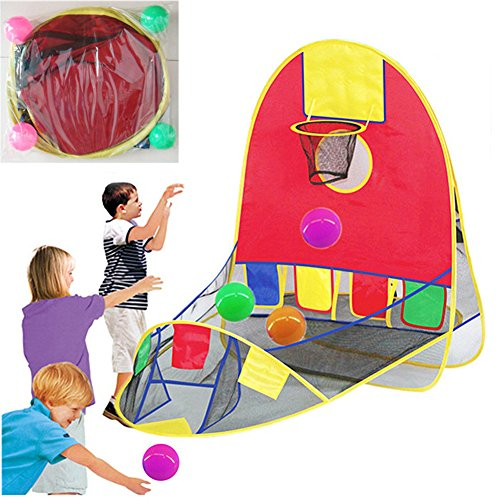 Portable Ball Shooting Tent, Kid Foldable Pop Up Playing Tent Goal Basketball Hoop Shooting Tent With 4 Balls, Indoor and Outdoor Large Space Sports Arcade Playhouse for 1-6 years old boy/girls by blue--net