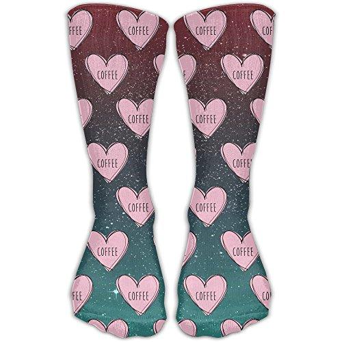 (NUNOFOG Unisex Funny Printed Love CoffeeHigh Compression Socks Soccer Stockings)