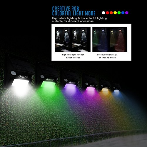 Solar Lights, OxyLED Wireless 12 LED Solar Motion Sensor Step Lights, Outdoor Wall Lights, Security Color-Changing Lights, Waterproof Landscape Light for Outdoor, Garden Decor, Patio, 2 Pack by OxyLED (Image #1)