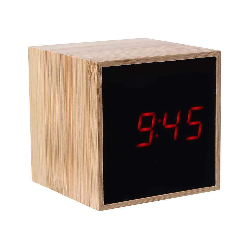 Digital LED Clock, YiMiky Bedside Alarm Clock Voice Control Mini LED Digital Alarm Clock Wooden Grain Adjustable Luminance Cube Alarm Clock Date Time Temperature Display Desk Clock - Red