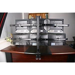 "XtremPro 6 Monitors Desk Mount Bracket, 13"" - 27"", Adjustable Height and Rotation 360°, Tilt ±15° w/ Cable management system - Black (41026)"