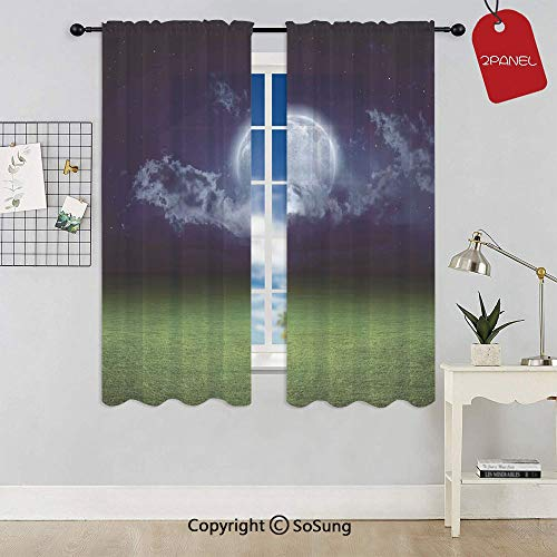 - Grass Field Sports Stadium Under Cloudy Night Sky with Moon Lunar Mystic Rod Pocket Sheer Voile Window Curtain Panels for Kids Room,Kitchen,Living Room & Bedroom,2 Panels,Each 52x72 Inch,Green Navy
