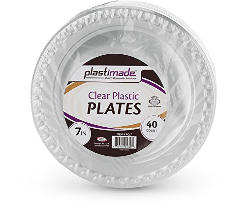 Plastimade Disposable Clear plastic 7 Inch Dessert, Appetizer Plates 1 Pack (40 Plates)
