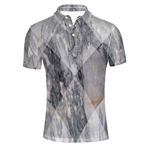 iPrint T-Shirts Grunge Granite Rock Facet Forms Ceramic Abstrac for Mens ()