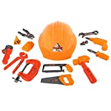 TukTek Kids First 15 Piece Play Toy Tool Set w/ Hard Hat & Pretend Tools Playset for Boys and Girls