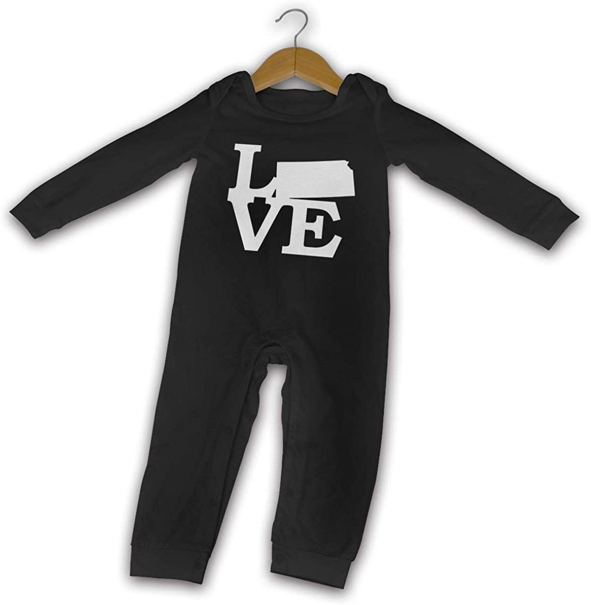 Love Kansas Map Printed Newborn Baby Boy Girl Jumpsuit Long Sleeve Outfits Black