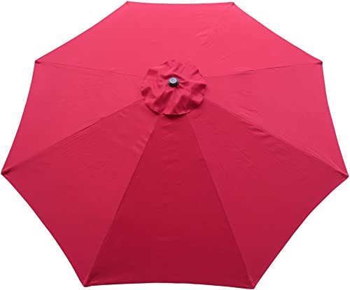 Comfy Hour 11 Market Patio Umbrella Outdoor Table Market Umbrella with 8 Sturdy Ribs, Red